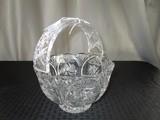 Star-Cut, Swirl Motif Clear Glass Basket Star Base