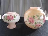 Ceramic Rose Motif Shades For Oil Lamp