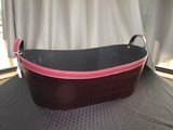 Red Sequin Fabric Basket Oval w/ Handles
