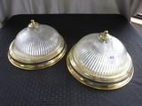 Pair - Swirl Glass, Brass Trim Ceiling Lights