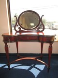 The Bombay Co. Cherry Wood Veneer Vanity Curled/Ornate Arm w/ Oval Mirror
