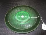 Uranium Glass Plate Ribbed w/ Star-Cut Center, Gilted Trim