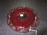 Vintage Imperial Glass Ruby Red Amberina Lace Edge Sugar Cane Dish