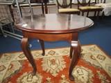Wooden Oval Side Table Bun Feet Curved Legs Bow Skirt