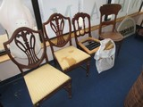 Chair Lot - 2 Dining Chairs Elaborate Fleur-De-Lis Shield Backs w/ Carved Column/Tapered Legs