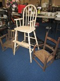 Vintage Child's Dining Chair Wooden Slat Back w/ Bow Front w/ Step 39