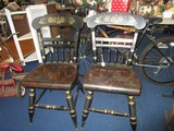 Pair - Black Wooden Chairs w/ Rose/Leaf Motif Top, Spindle Backs/Legs Ornate Transfer Trim