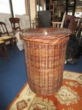 Dark Wicker Laundry Basket w/ Lid