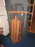 Standard Novelty Works #122 1/2 Wooden/Metal Vintage Sled w/ Rope Handle
