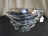 Large Iridescent Purple/Silver/Clear Glass Vase/Décor Bowl Art Glass Design