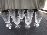 7 Lenox USA Crystal Glass Goblets Diamond Cut Pattern