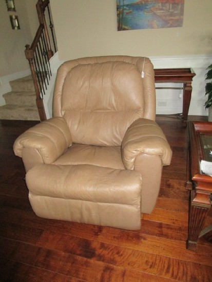 Brown Leather Upholstered Recliner, Metal Frame