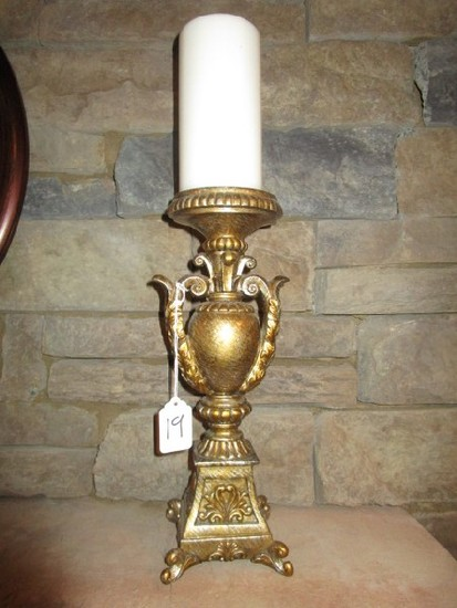 Metal Urn Design Candle Holder w/ Ornate Handles/Scalloped Base w/ Candle