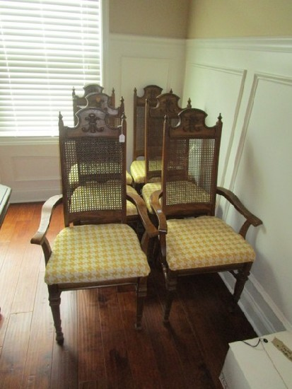 6 Dining Chairs Wicker Back w/ Yellow Upholstered Seats Wooden w/ Arched Top