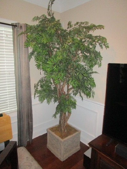Ceramic Lattice Motif Planter w/ Faux Ficus Tree 7' Tall
