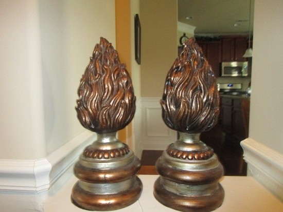 Pair - Flame Design Ceramic Décor Pieces on Beaded Base Silvered/Antiqued Patina