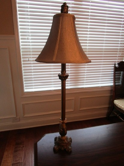 Scalloped/Ornate Design Base Table Lamp w/ Antique Patina Column w/ Shade, Oak Leaf Finial