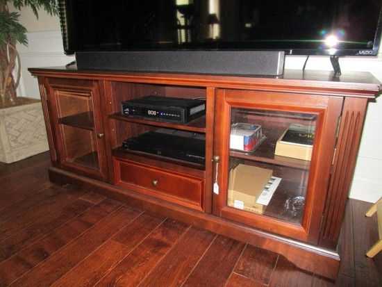 Wooden Cherry Veneer Entertainment Center 2 Hutch Doors w/ Glass Windows