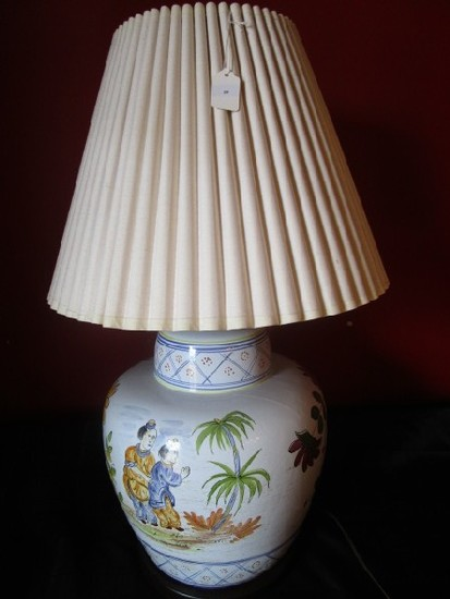 Large Body Ceramic Lamp Hand Painted Floral/Asian Motif Black Base, Brass Urn Top w/ Shade