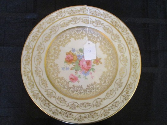 Porcelain/Ceramic Translucent China Plate Warranted 22k Gold Ornate Trim/Pattern