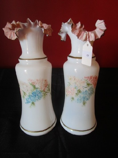 Pair - Milk Glass Vases Pink Crimped Rim, Gilted/Floral Motifs
