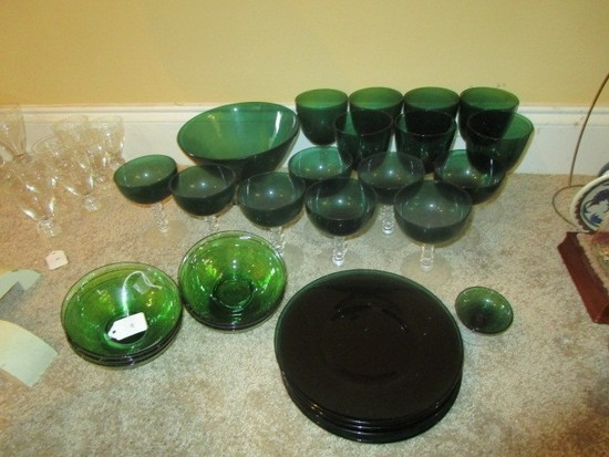 "Green Glass Lot - 6 Plates, 2 Blows, 1 Serving Bowl 8"" D, 7 Water Goblets, 8 Sundae Dishes"