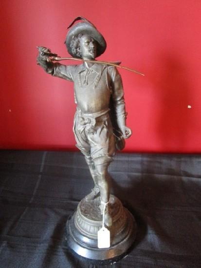 Metal Renaissance Man Statue/Figurine w/ Brass Sword