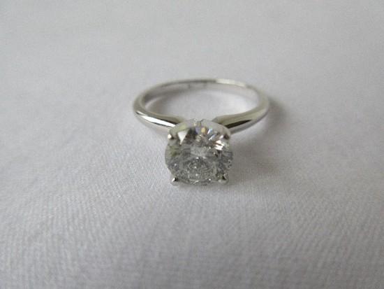 Ladies Diamond Ring 1.12 Carat Brilliant Cut Round Solitaire Diamond 14K White Gold