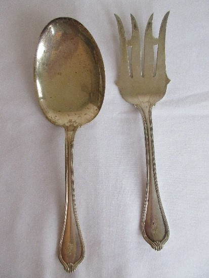 2 Piece - Towle Silversmith Sterling Silverware Paul Revere 1906 Pattern Solid Salad Server