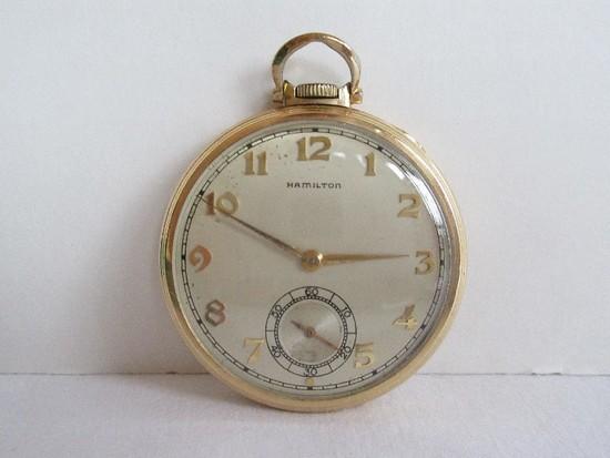 Vintage Hamilton Watch Co. Keystone 14K Gold Filled Pocket Watch w/ Second Hand Inscribed
