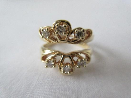 Ladies Ring Jacket 14 Karat Yellow-Gold Six Natural Round Brilliant Cut Diamonds