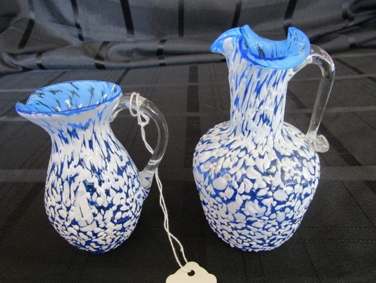 Vintage Miniature Hand Blown Glass Pitchers w/ Pontil Mark/Handles Blue w/ White Splatter
