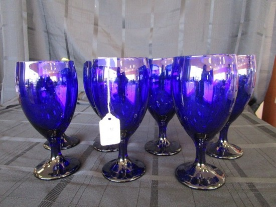 7 Blue Libby Glass Water Goblets