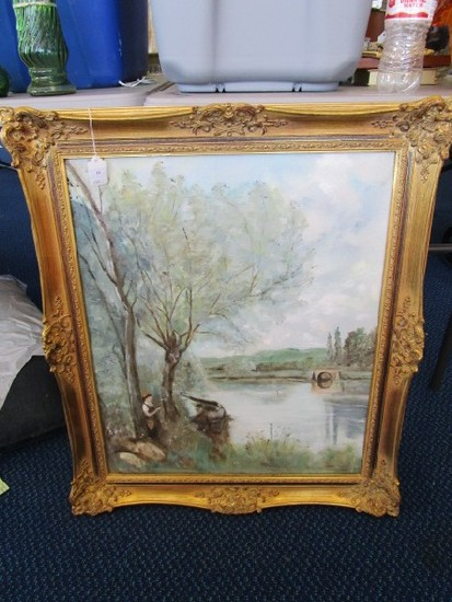 Oil on Canvas Hand Painted River Scene in Ornate Gilted Wooden Frame