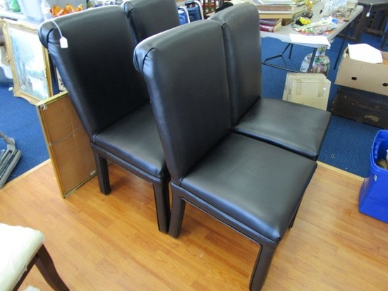 4 Black Leather Dining Chairs Upholstered Straight Legs