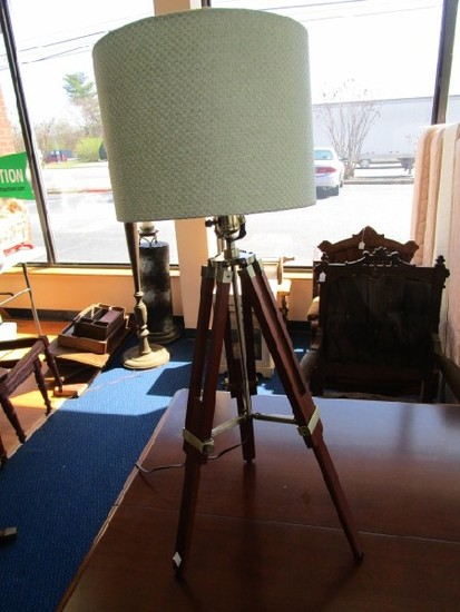 Fold-Out Standing Wooden Lamp, Adjustable Legs Green Fabric Shade