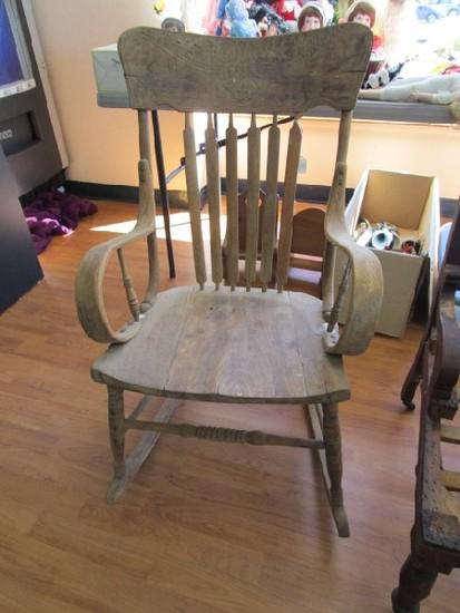 Vintage Wooden Rocking Chair, Carved Embellished Top Rolled Arms, Slat Back