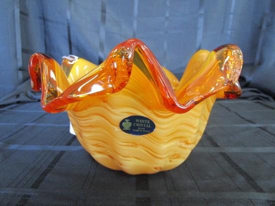 Murano Orange/Amber Art Glass Bowl Hand Made