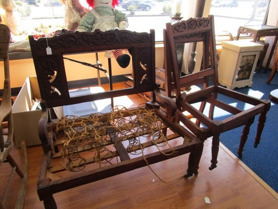 Vintage Wooden Chair Ornate Carved Oak Leaf Finial/Trim Sides, Rolled Arms, Spindle Feet