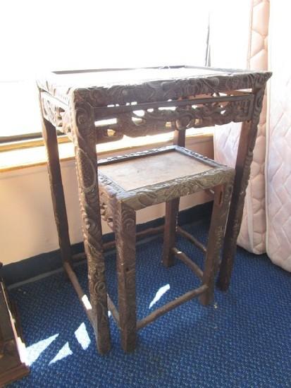 Vintage/Antique Side Table Wooden Ornate/Fish Motif Carved Trim, Columns