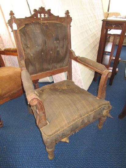 Vintage/Antique Wooden Arm Chair Eastlake Revival Style, Clover Finials