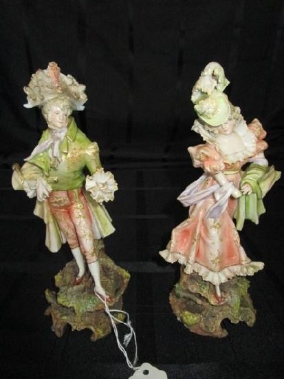 Ceramic/Porcelain Victorian Man/Woman Green/Pink Motif
