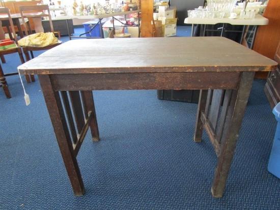 Antique Vintage Dark Wood Table Block Legs w/ Wooden Slat Sides, Carved Embellished Motif