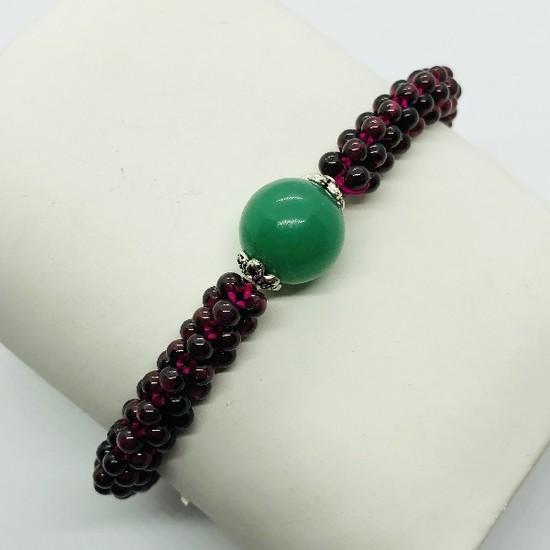 Silver Garnet Stretchable Bracelet