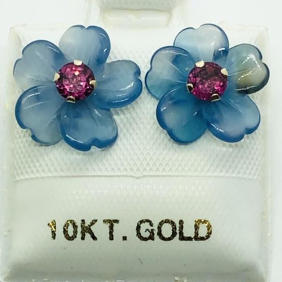 10K Yellow Gold Garnet 0.5ct Chalcedony Flower Earrings