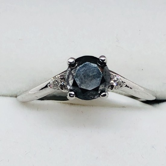 14K White Gold Black Diamond 0.9ct Diamond 0.06ct Ring
