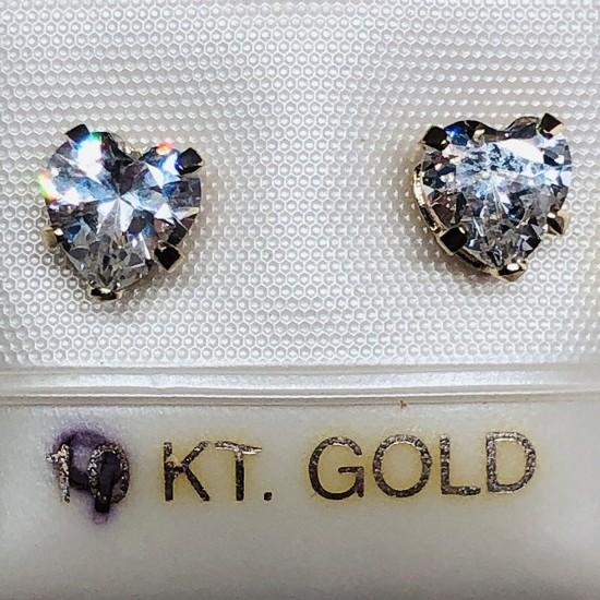 9K Yellow Gold Cubic Zirconia Heart Shaped Earrings
