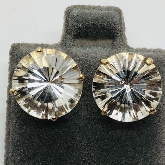 14K Yellow Gold White Topaz 7ct Earrings