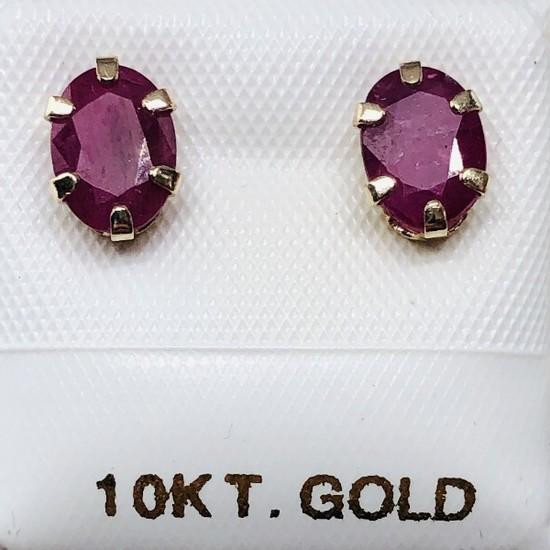 10K Yellow Gold Ruby 1.6ct Earrings