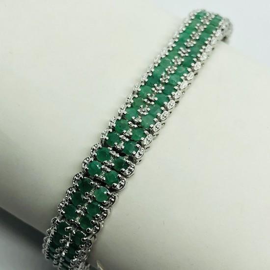 Silver Emerald 12ct Bracelet
